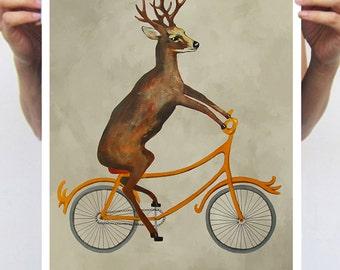 Deer Poster: Art Print Poster A3 Illustration Giclee Print Wall art Wall Hanging Wall Decor Animal Painting Digital Art Deer on Bicycle