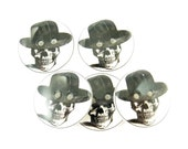 "5 Skull and Black Hat Sewing Buttons.  Human Skull Handmade Buttons. Two Holes 3/4"" or 20 mm."