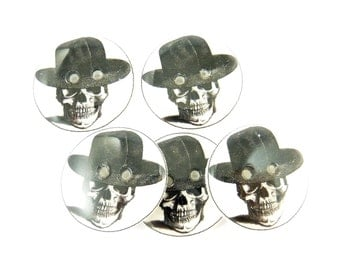 """5 Skull and Black Hat Sewing Buttons.  Human Skull Handmade Buttons. Two Holes 3/4"""" or 20 mm."""