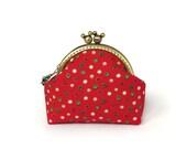 Red Christmas purse, polka dots coin purse, holiday gift