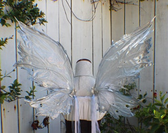 Custom frost Ice Fairy inspired wings in silver blue clear and white