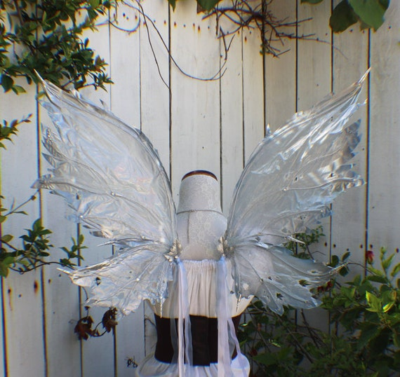 Custom frost Ice Fairy inspired wings in silver blue clear and