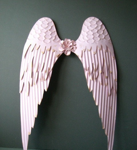 Decorative Wall Hanging Angel Wings : Angel wings pink wall decor w giled edges