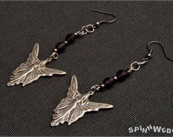 Fairy Butterfly Earrings - glass, Czech Glass, dark violet, brass, silver plated, silver, metal beads, black, handmade, metal