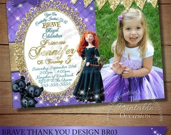 Brave Birthday Invitation, Princess Merida Invitation, Brave Birthday Party, Princess Merida Birthday Invitation, Printable Digital DIY