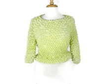 Vintage Stretchy crinkly Popcorn Blouse from 90's/Pale Lime Green*