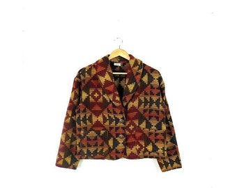 SALE!!Vintage Brown x Yellow Navajo/Tribal inspired Pattern Jacket from 1980's*
