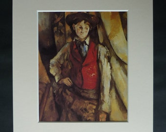 1990s Paul Cezanne Print of Boy in a Red Waistcoat, Post Impressionist Decor, Available Framed, French Art, Impressionism Gift for Artist