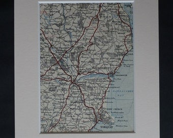 1930s Antique Devon Map of Newton Abbot, Torquay Decor, Available Framed, Chudleigh Art, Babbacombe Bay Gift, St Mary Church Wall Art