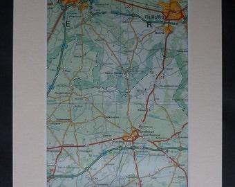 1980s Vintage Map of Tilburg, Available Framed, Belgian Art, Turnhout Decor, Breda Gift, Goirle Wall Art, Belgium Picture, European Artwork