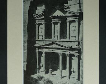 1930s Antique Al-Khazneh Print, Petra Decor, Available Framed, Jordan Art, Jordanian Gift, Nabataean Kingdom, Arab Architecture, Carved Rock