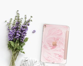 Pink Marble Swirl and Rose Gold Smart Cover Hard Case for iPad Air 2, iPad mini 4 , iPad Pro , New iPad 9.7 2017 - Platinum Edition