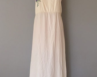bluebell embroidery dress / 70s maxi day dress