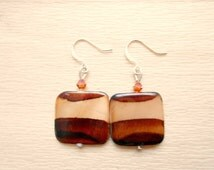 Striped Seashell Earrings - Dark Brown and Light Brown Ombre Earrings - Seashell Jewelry
