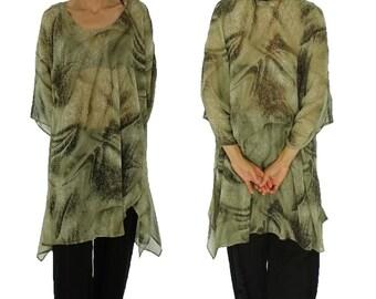 HO200GBT4 tunic plus size blouse chiffon Gr. 42-56 beige/Brown