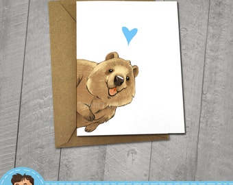 Happy Quokka, I love You Card, Note Cards, 5x7 Kraft Envelope, Recycled, Blank Kraft Greeting Card, Great for any use, Animal Illustration,