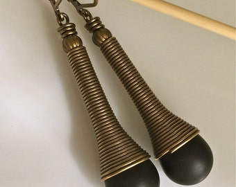 Black Glass Earrings  Bohemian Earrings  Spiral Caps  Boho Earrings  Long Dangle Earrings  Matte Black Glass  Gypsy Dangles