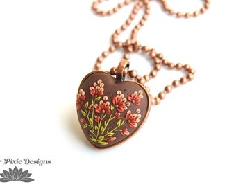 Copper Heart Pendant with Wild Flowers, Polymer Clay Jewelry, Garden Necklace in Polymer Clay Applique
