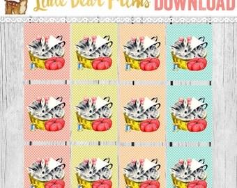 Retro Sewing Basket Kitten PRINTABLE Gift Tags- Cat Gift Tags- Kitsch, Kawaii
