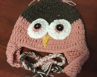 Toddler Owl Hat in Brown Tweed and Pink