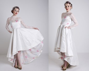 Made to Order, pastel floral & ivory silk wedding dress, with pockets high low hem and a train, sizes UK 6-24