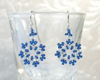 Small Snowflake Earrings Beaded Glass Jewelry Handmade Cobalt Blue Earrings Dangle Lightweight Earrings Winter Earrings Gifts for Her Woven