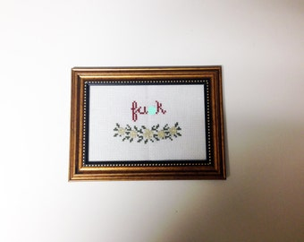 F*ck subversive cross stitch with flowers