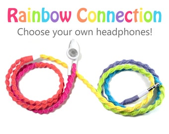 Rainbow Headphones - Custom Wrapped Tangle Resistant Earbuds - Unique Girl Teen Birthday Gift For Her iPhone 7 Earpods Android Earphones