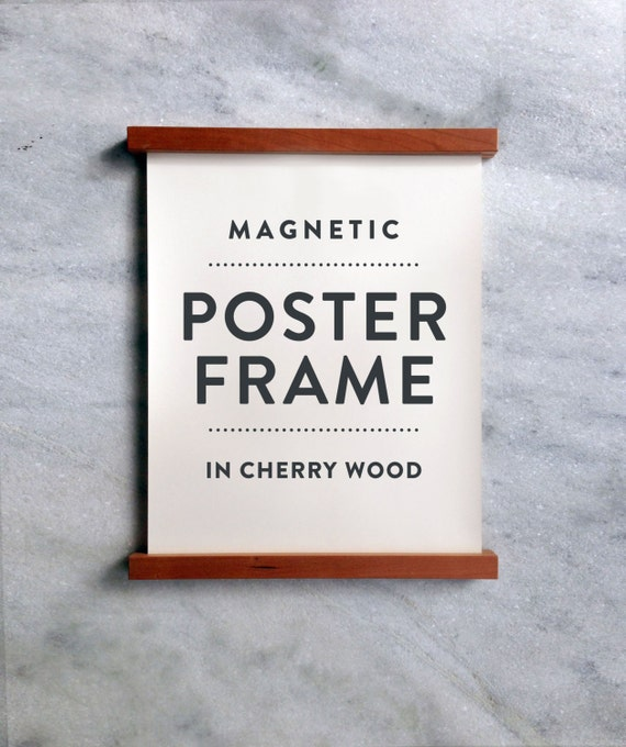 wooden poster hanger poster frame in cherry wood with magnetic fasteners