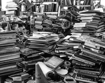 Street Photography Chicago - Book Man, candid photo, fine art photography, street portrait, Book Store - 8x10 black and white photograph