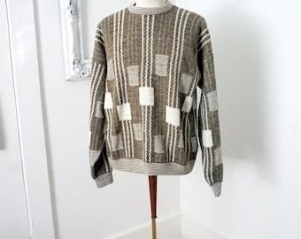 Vintage 80s Acrylic Sweater Brown Beige Graphic Stripes Men Sz M L