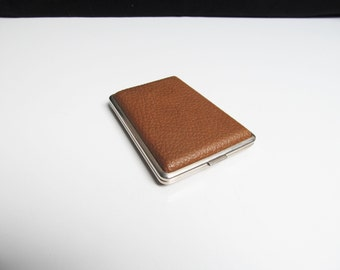 Vintage Cigarette Case holder in brown vinyl and silver metal case smoker business card case credit card case initial HV Length 4 in/10.2 cm