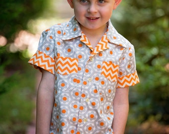 Sewing pattern for boys & girls WILLOW SHIRT kids shirt pattern sizes 4 to 14 years Shirt pdf sewing pattern