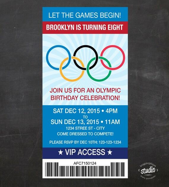 Olympics Ticket Birthday Invite Let the Games Begin Custom