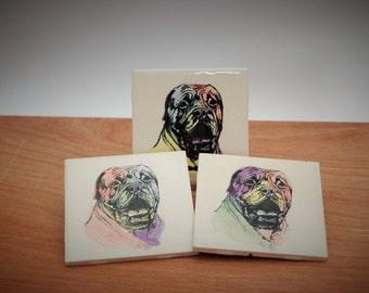 Pop Art Style Dog Coasters, Ceramic Dog Coasters, Ceramic Dog Tiles, Dog Art Trivets, Dog Trivets, Dog Coasters, Pop Art Coasters, Mastiff