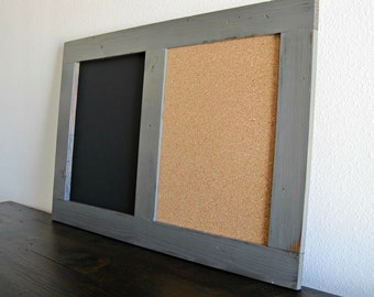 Large Framed Message Board Chalk Board / Cork Board Combo - Distressed Wood in Graphite  24x36 *MORE COLORS AVAILABLE*