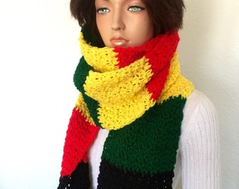 Extra Long Crochet Rasta Scarf