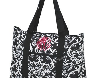 Damask Tote Bag Black and White with Black Trim Tote Large  with Free Embroidery