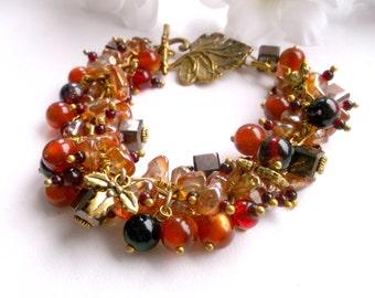 Brown chunky bracelet Orange Glass bracelet OOAK Glass chunky cha cha bracelet charm bracelet wife gift bracelet gift gift ideas summer gift