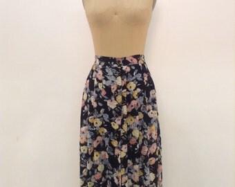 Vintag Black Floral Skirt