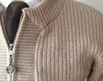 Vintage 1960s Cream Zip Up Cardigan by Brent Size Small