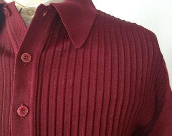 Vintage 1960s Burgundy Ban Lon Italian Knit Style Shirt Size Medium