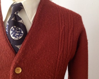 Vintage 60s Brick Red Cardigan w/Cable Knit Detailing Size Medium