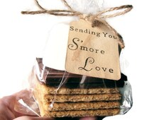 100 Hand Stamped Tags. Hand Stained. SENDING YOU S'more Love. Smore. Favors. DIY Wedding. Wedding Favors. Aged. Vintage Look. Party Favors.