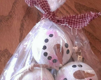 Pack of 3 Small Snowman Head Ornaments