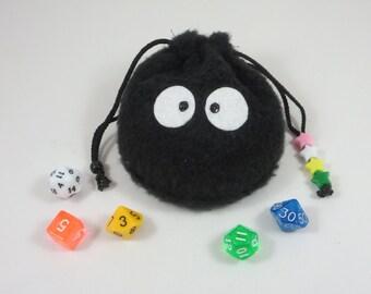Drawstring Pouch / Dice Bag / Gaming Bag / Spirited Away / Soot Sprite