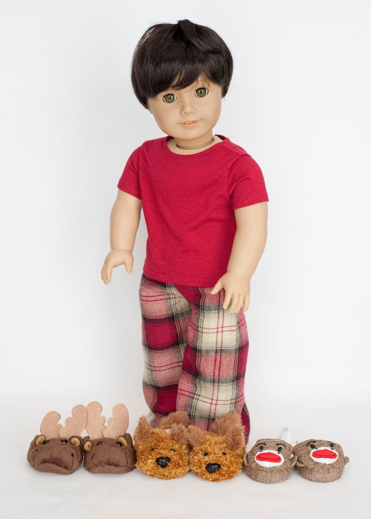 American Boy Doll Pajamas With Slippers Red Plaid