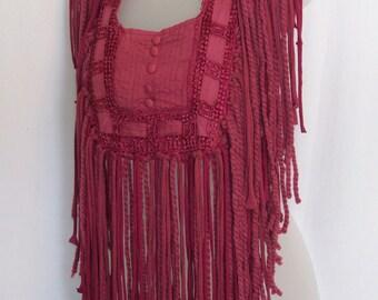 Raspberry scarf. women's bib, fringe necklace, necklace scarf, hippie boho bohemian, boho scarf, fringe, festival fashion, bohemian gypsy,