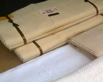 50's Pair of Wide (94+) French Metis Linen Flat Sheets Unused Tag Off White Ladder Work Bed Sheet Curtain Home Decor #SophieLadyDeParis