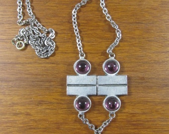 Swedish modernist pewter necklace purple cabochons 60's , Bengt Blomqvist?